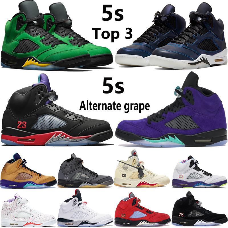 Alternate grape 5 5s jumpman basketball shoes Top 3 travis scotts oil grey reflective Alternate Bel mens women Sneakers US 5.5-13