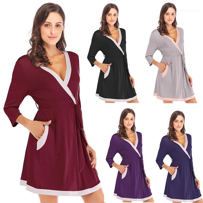 Printemps Femmes concepteur de nuit Piping solide Couleur femmes Pyjama col en V à manches longues en vrac Casual Accueil Été