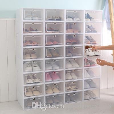 Nova caixa de plástico transparente caixa de armazenamento de sapato japonês sapato armazenamento Engrossado gaveta aleta caixa de sapato organizador DLH286