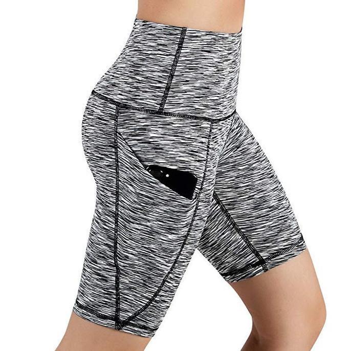 Leggings pour les femmes maigre solide taille haute Out sport course de poche court leggings leggings Fitness Femmes Sexy 38