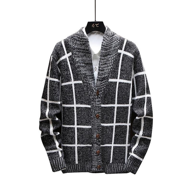Мужские свитера мужские шерстяные лоскутные кладки кардиган осень зима теплый толстый тонкий подходит с длинным рукавом V-образным вырезом одежда вязаный хлопок джемпер мужской куртку
