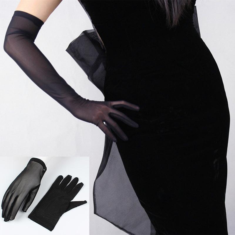 Guanti della protezione solare sexy del merletto per le donne Primavera Estate Lungo Solido Nero Trasparente elastico anti-UV guida Opera Gloves Size 55 centimetri