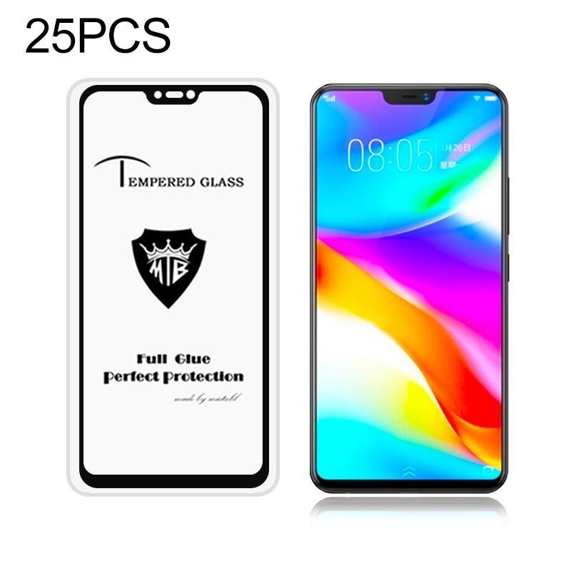 25 PCS MIETUBL Полный экран Полный клей Анти-отпечатков пальцев закаленное стекло пленка для Vivo V9