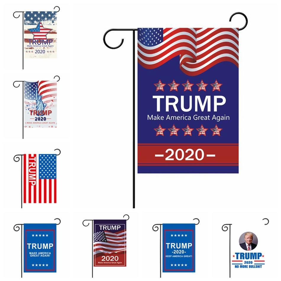30 * 45cm Trump Bahçe Bayrak 2020 Amerika Başkanı Seçim Banner ABD Kampanyası Destek sloganı Asma Bayraklar Dış Dekorasyon LJJP235