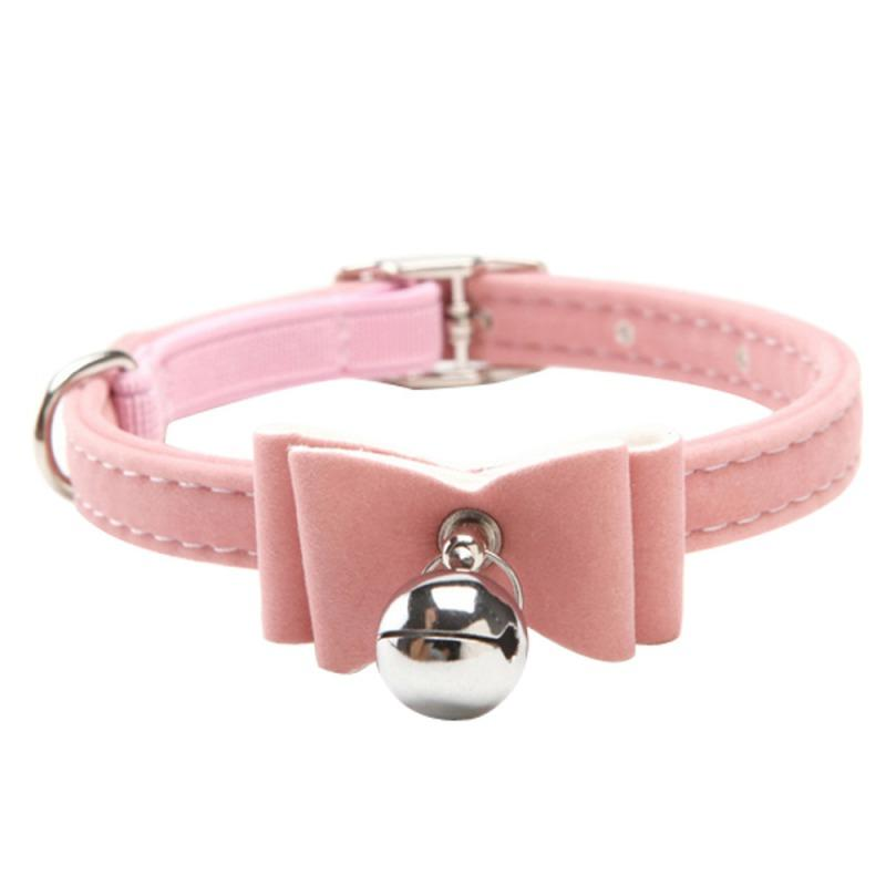 Puppy Pet Dog Bowknot Lead Adjustable Leather Cat Kitten PU Collars with Bell Necklace Pup Dog Collars Bow Tie Pet Decor