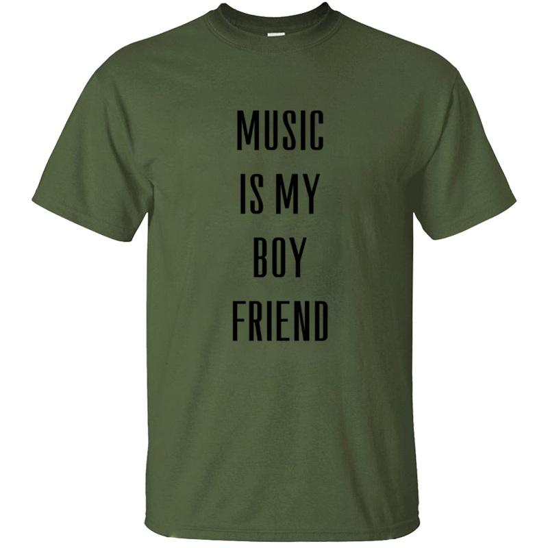 Create Designing Music Is My Boyfriend T Shirt Man Classical Basic Solid Awesome Men T-Shirts Short-Sleeve Hiphop