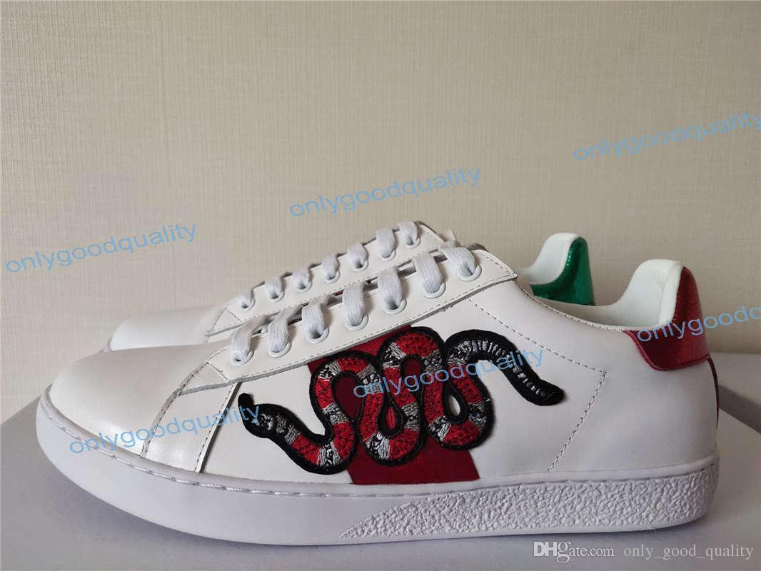 2019 Yeni Geliş Moda Erkekler Kadınlar Günlük Ayakkabılar Lüks Tasarımcı Sneakers Ayakkabı Üst Kalite Gerçek Deri Arı İşlemeli Boyut 35-46