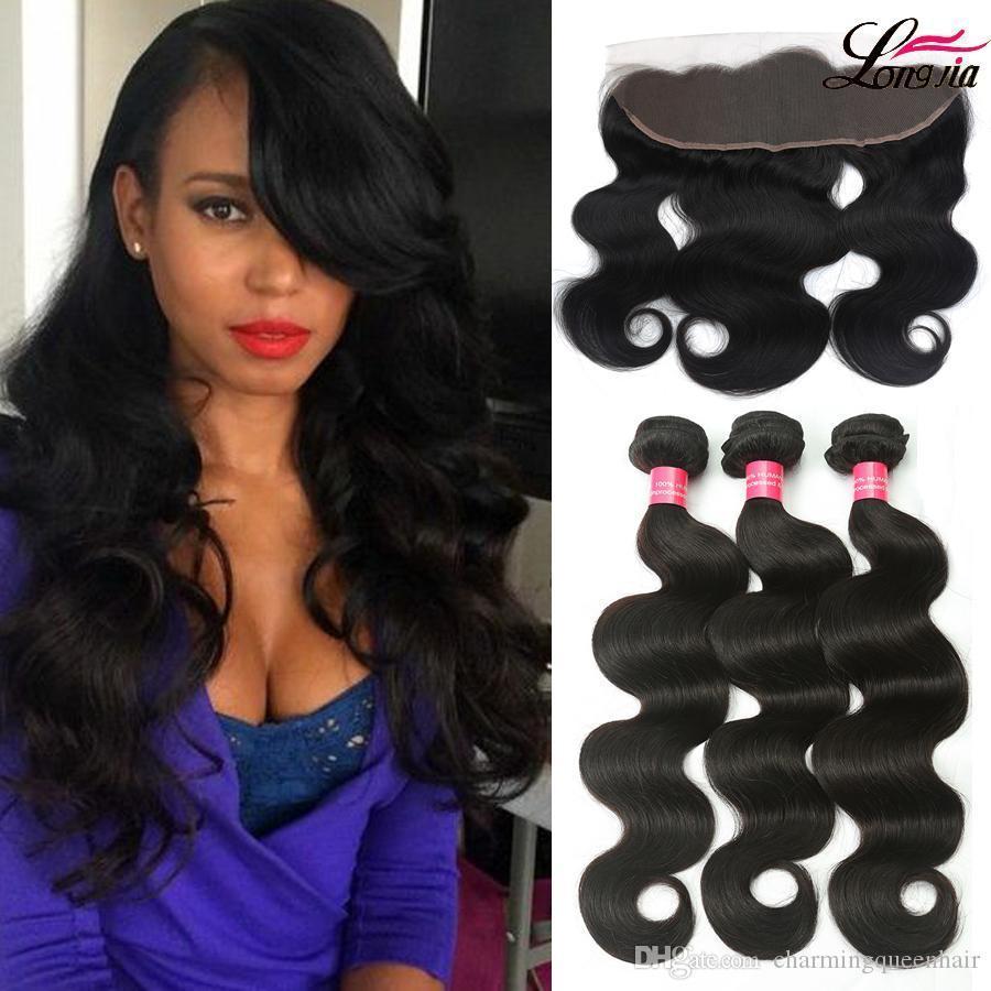 Puvian Body Wave с фронтальным Закрытие перуанский Virgin Человеческий волос 3 Связки с 13X4 Lace Closure Дешевые перуанский девственница Объемная волна