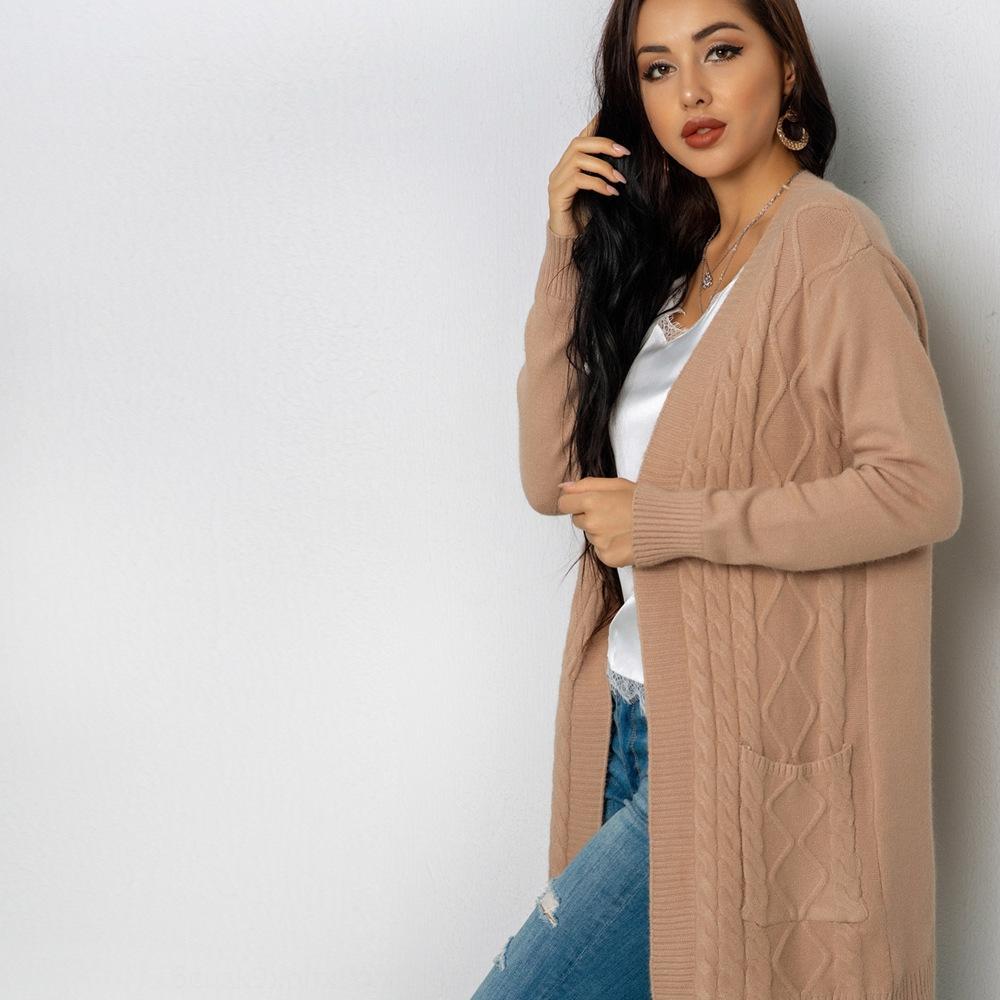 2020 Outono Nova preguiçoso estilo de linho bolso Mid-comprimento padrão da Mulher solta malha casaco cardigan sweater casaco camisola