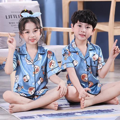 2020 Yeni çocuk Pijama Saten İpek Pijama Set Çocuklar Erkek Bebek Kız Giysileri Yaz Kısa Kollu Üstleri + Şort Karikatür Pijama