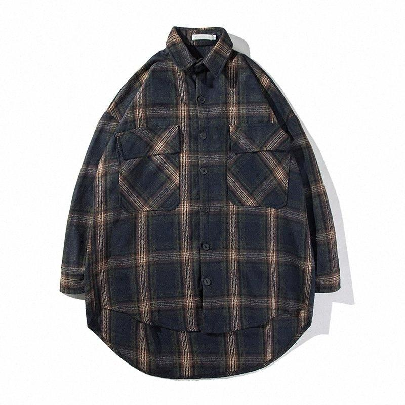Moda Hombres franela a cuadros camisas ocasionales Hip Hop camisas de manga larga de Calle algodón suelta la manera tapas GPB9 #