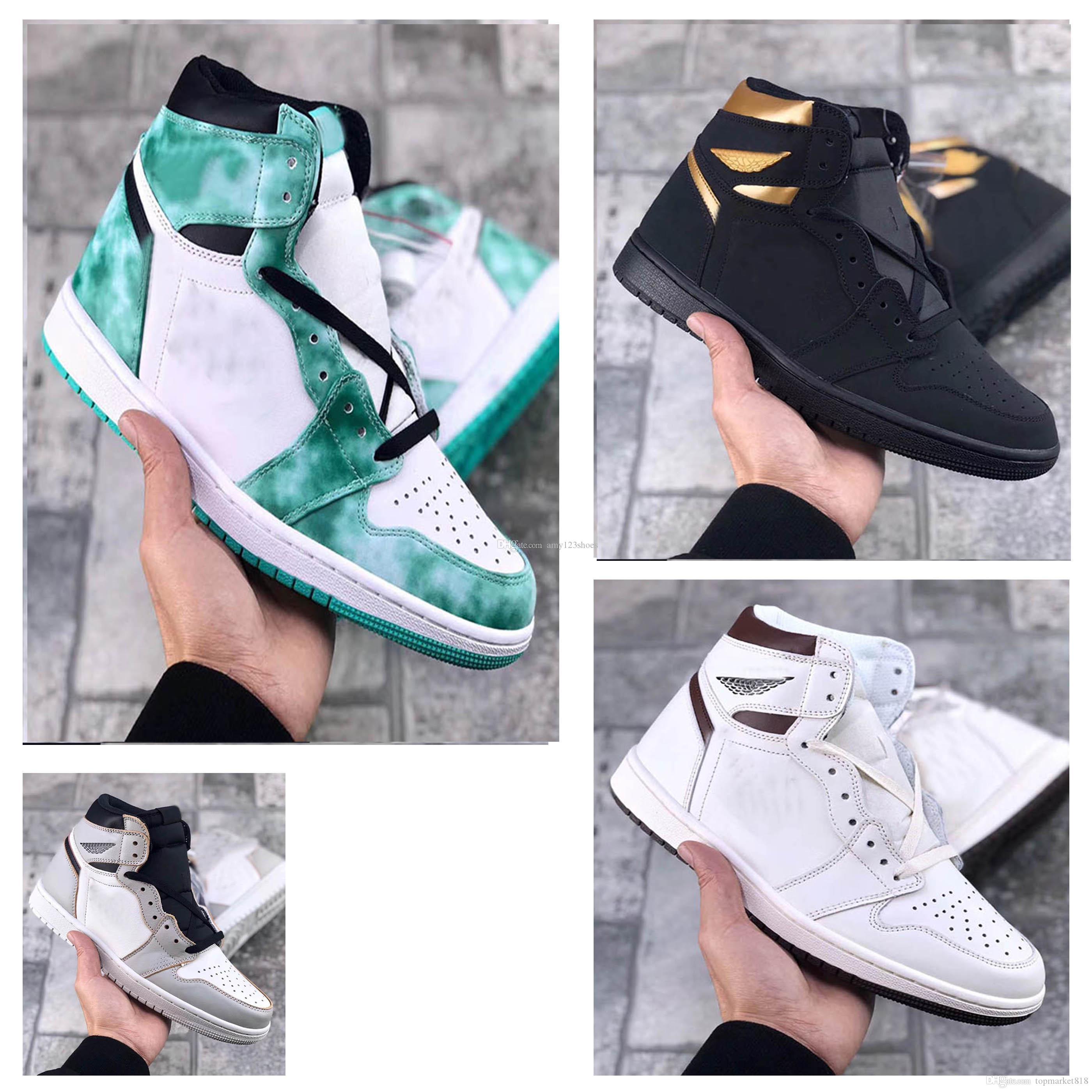 En kaliteli 1s 1 Yüksek OG Siyah Metalik Altın basketbol ayakkabıları kutusu ile 1 Giysi S 1 Mocha spor ayakkabıları eğitmenler mens