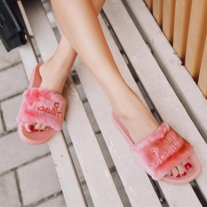 Open Toe Fur Slippers Pantufa Styles Letters Embroider Flipflops Girls Sandals Women Thick Bottom Comfort Slides
