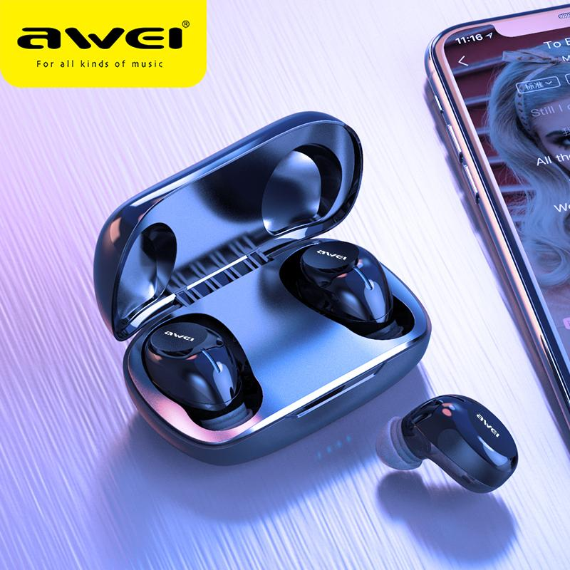 AWEI T20 Budget TWS In Ear Mini Earbuds Gaming Bluetooth 5.0 Quality Sound Hifi Earphones With Mic Touch Contorl Wireless Headset