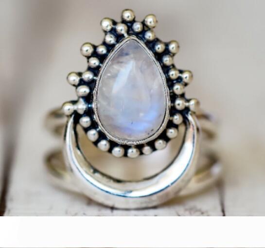Mulheres Bohemian Moda Boho jóias anel de prata naturais de pedra lua branca Opal Anéis Jóias