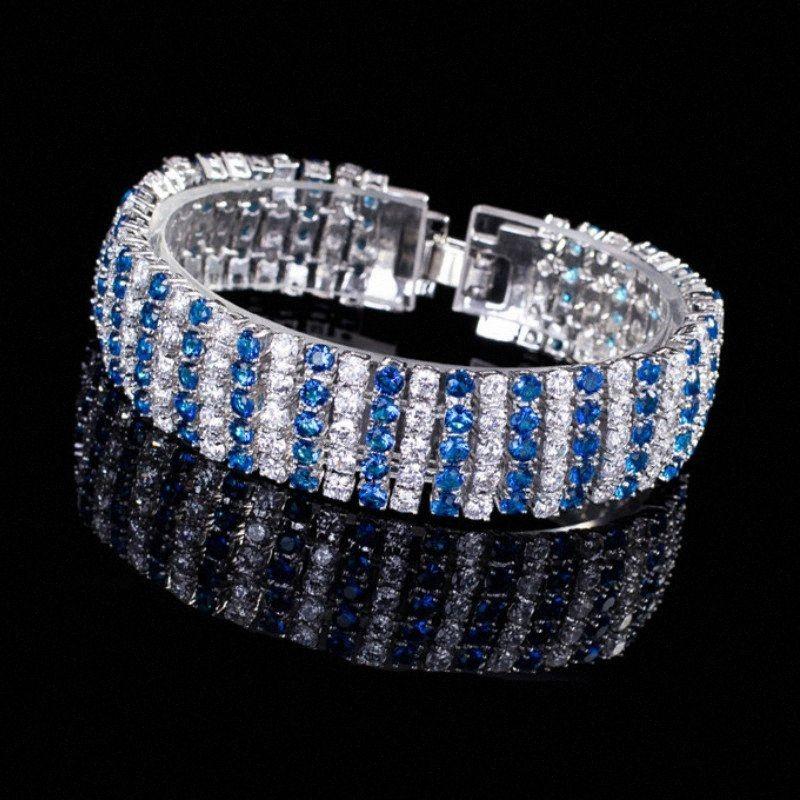 S925 Bracelet en argent sterling Mode Tendance Mesdames exquis couleur Zircon Bracelet Bijoux de mariage Gemstone WJAN #