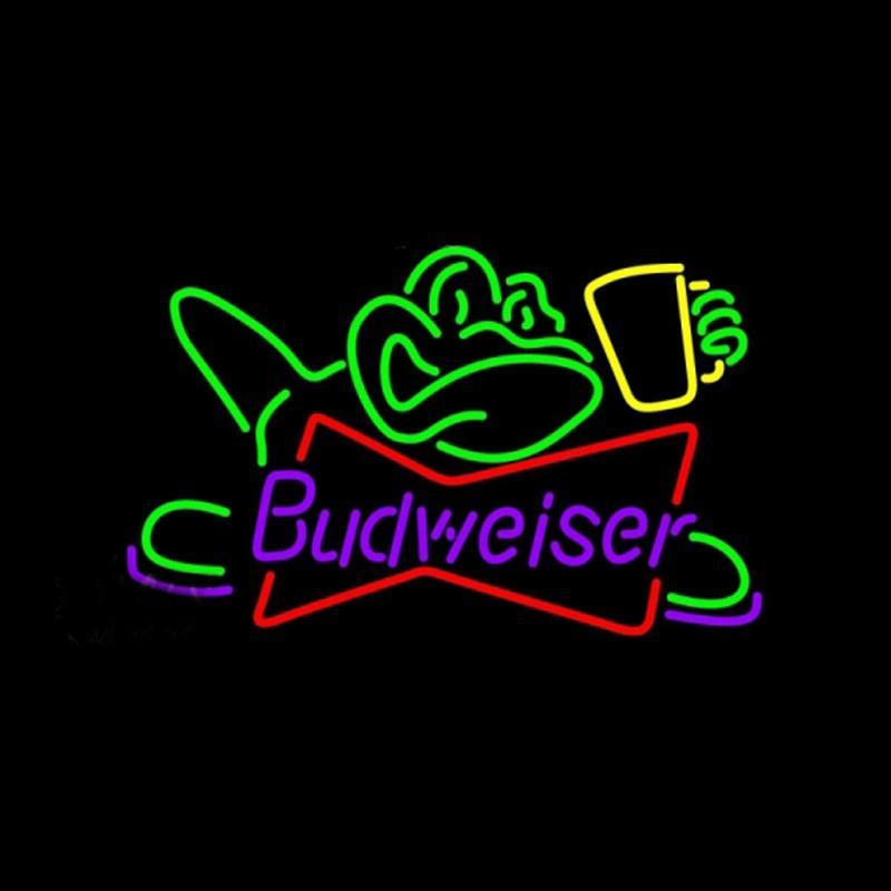 "Budweiser Frog Glass Neon Sign Handmade Custom Real Glass Tube Restaurant Sport Beer Bar KTV Store Decoration Display Neon Signs 17X14"""