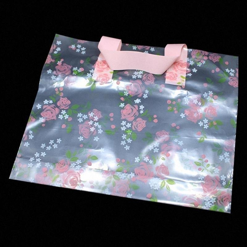 30pcs / lot plástico transparente de compras sacos de plástico com Boutique do presente Handle Embalagem Floral Rose impresso grande bonito 4 tamanhos rRLl #