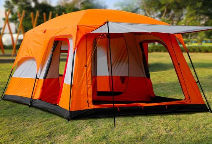 8-12people Tent outdoor two-room one hall double-layer multi-person camping camping thickened rainproof tent Orange blue brown