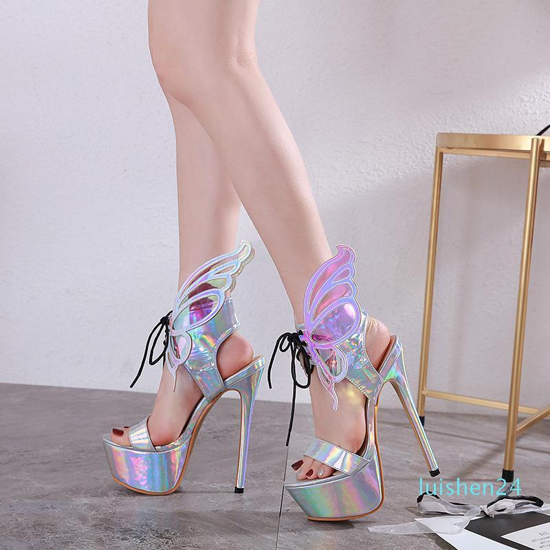 Sandales fantastiques métalliques d'argent avec de grandes ailes de bal de mariage de mariée de luxe de Chaussures Talons Designer 34 à 40 tradingbear L24