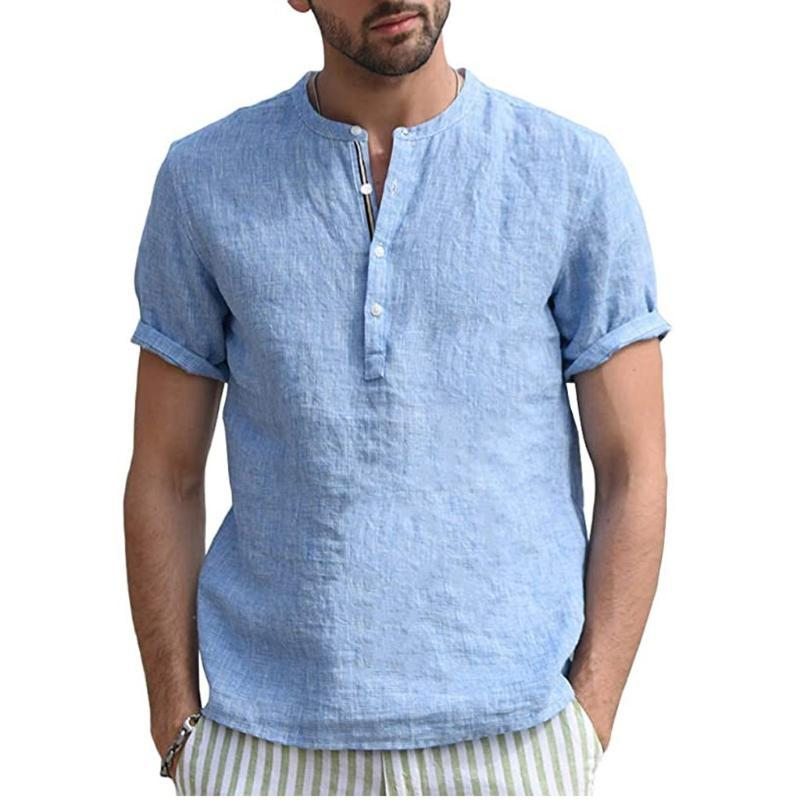 Männer beiläufige Bluse 2020 Camisas Herrenhemden Leinen Short Sleeve Retro Sommer-Tops Chemise Homme Hemden für Männer Kleidung # 714