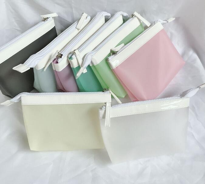 DHL50pcs Women TPU Color Patchwork Large Capacity Cosmetic Bag Mix Color Zipper Wash Bag