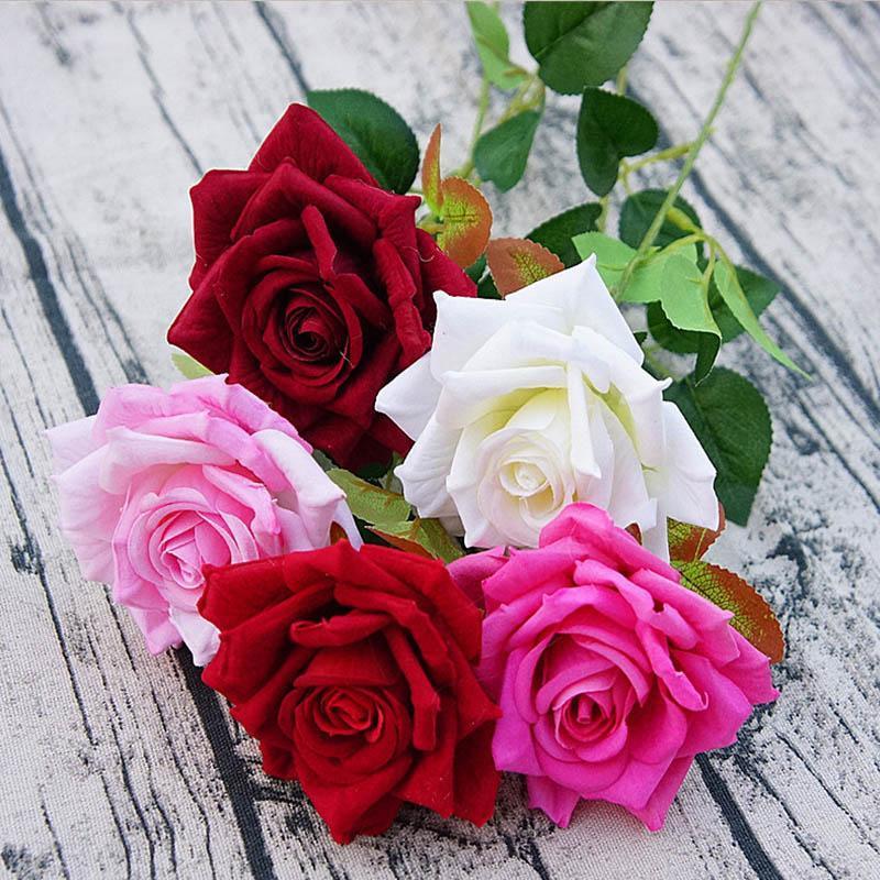 10pcs las flores artificiales de la decoración del hogar barato de Novia en floreros falso flores de seda ramo de las rosas de San Valentín día de la boda Ramo
