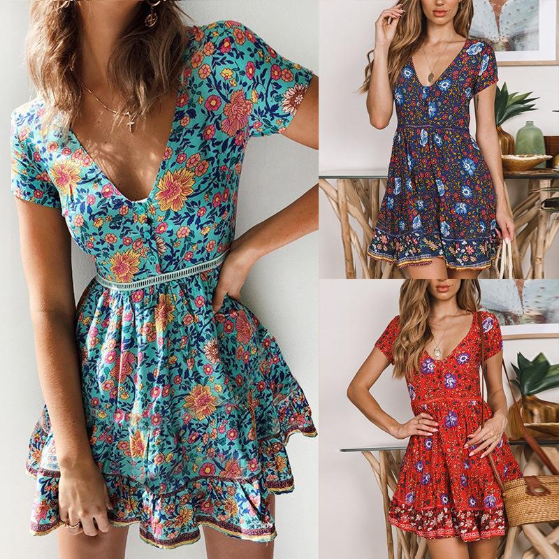 플러스 사이즈 슬림 캐주얼 비치 드레스 여성 짧은 소매 여름 드레스 2019 새로운 패션 꽃 깊은 V 넥 미니 섹시한 파티 Vestidos