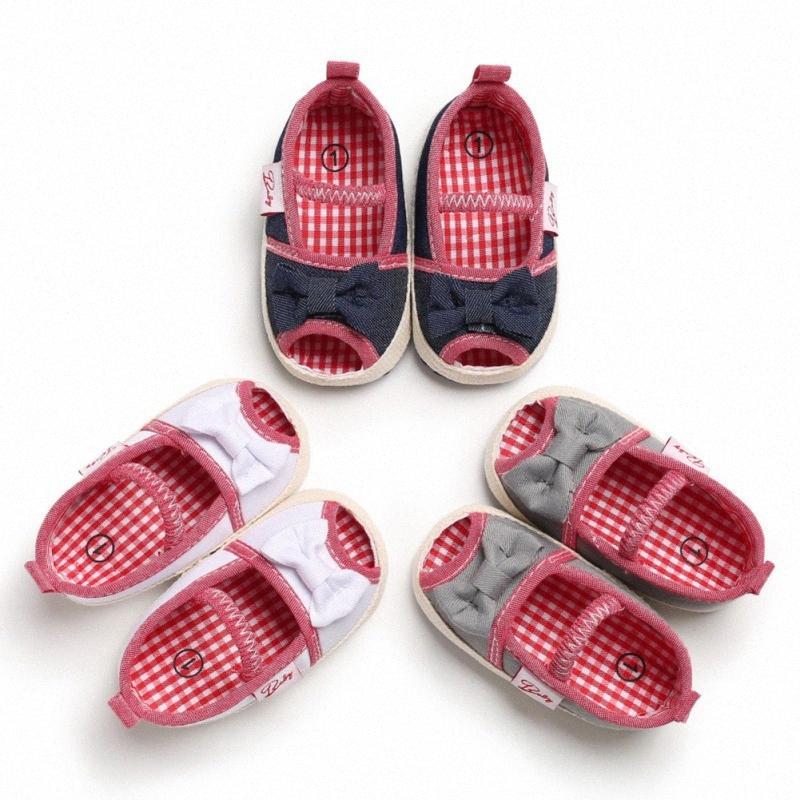 Sommer-Baby-Schuhe weiche Sohle Plaid Anti-Rutsch-Bogen-Muster Krippe Schuhe Cotton erste Wanderer für 0-18M FWa7 #