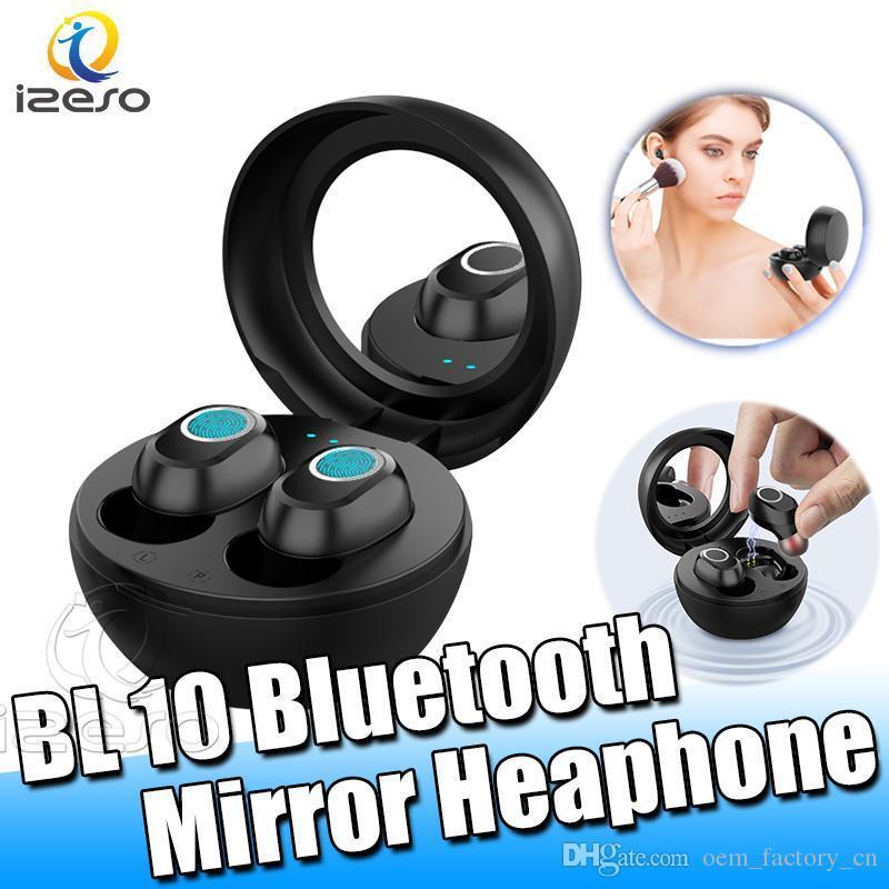 LB 10 inalámbrica Bluetooth 5.0 Mini auriculares de reducción de ruido de manos libres táctil para auriculares Deportes impermeable único TWS auriculares con el espejo pVQQP