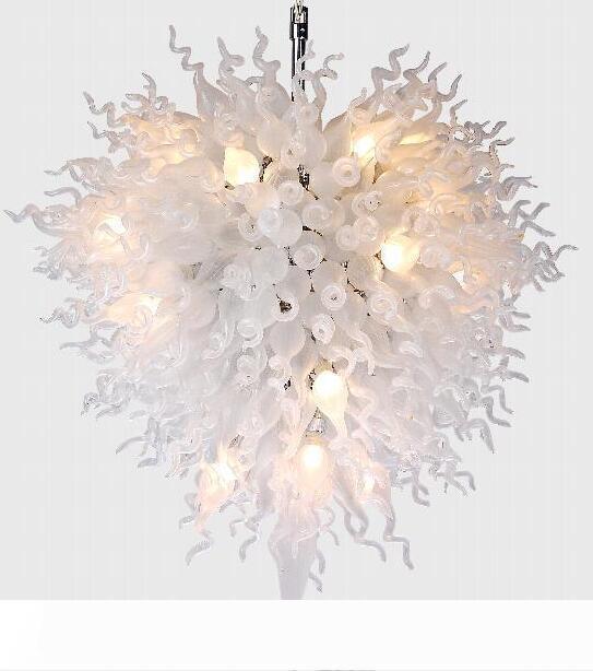 Larege Body Chandelier Decoración Mesa Top Piezas centrales Blancas Luces LED Luces Mano Florada Vidrio Bola Moderno Lámpalleras