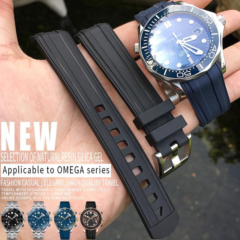20 mm Hight qualité en caoutchouc de silicone du bracelet montre étanche Bleu Noir Bracelet Bracelet Bracelets en acier Ardillon Omega Nouveaux 300 Outils gratuits