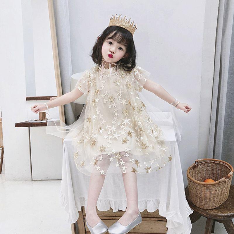 Enfants d'été Filles Bébés filles Pentagram Broderie Motif Mesh Design Enfants Princesse Robes