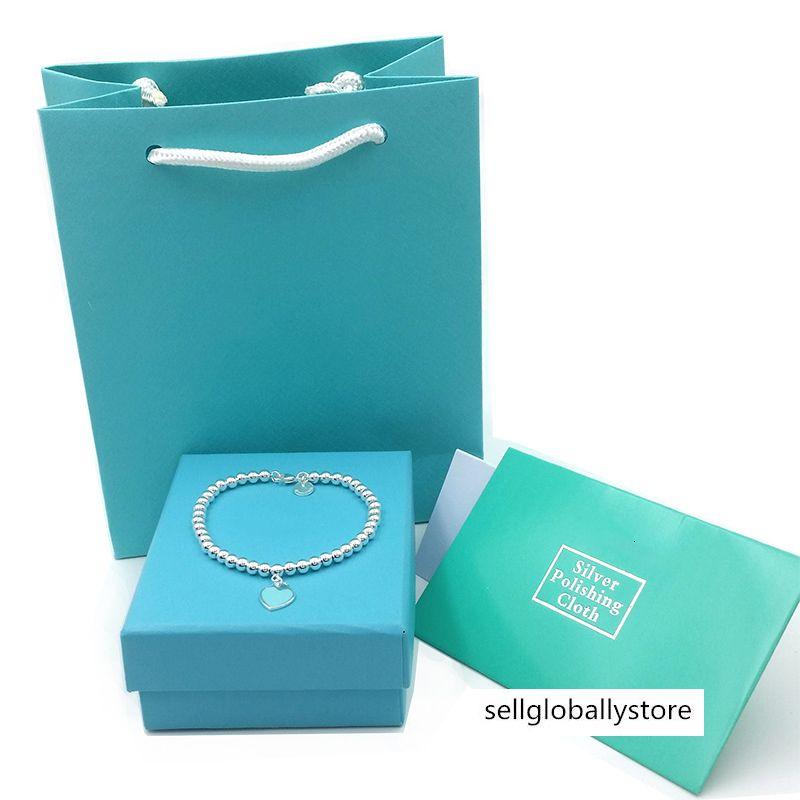 Mujeres lovetiffanyBracelets de lujo 925 joyería de la boda braccialetto pulsera caja de la bolsa original del corazón azul de plata pulsera colgante de Buda