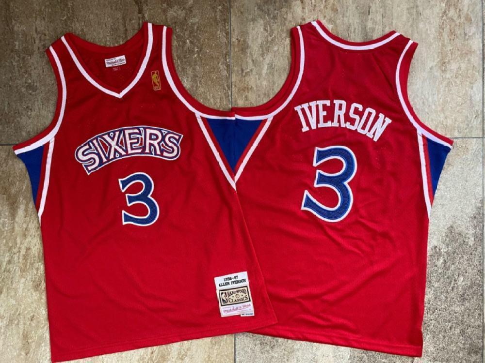 Vendita calda degli uomini Top Allen Iverson Mitchell Ness 1996-1997 Red cucita Jersey