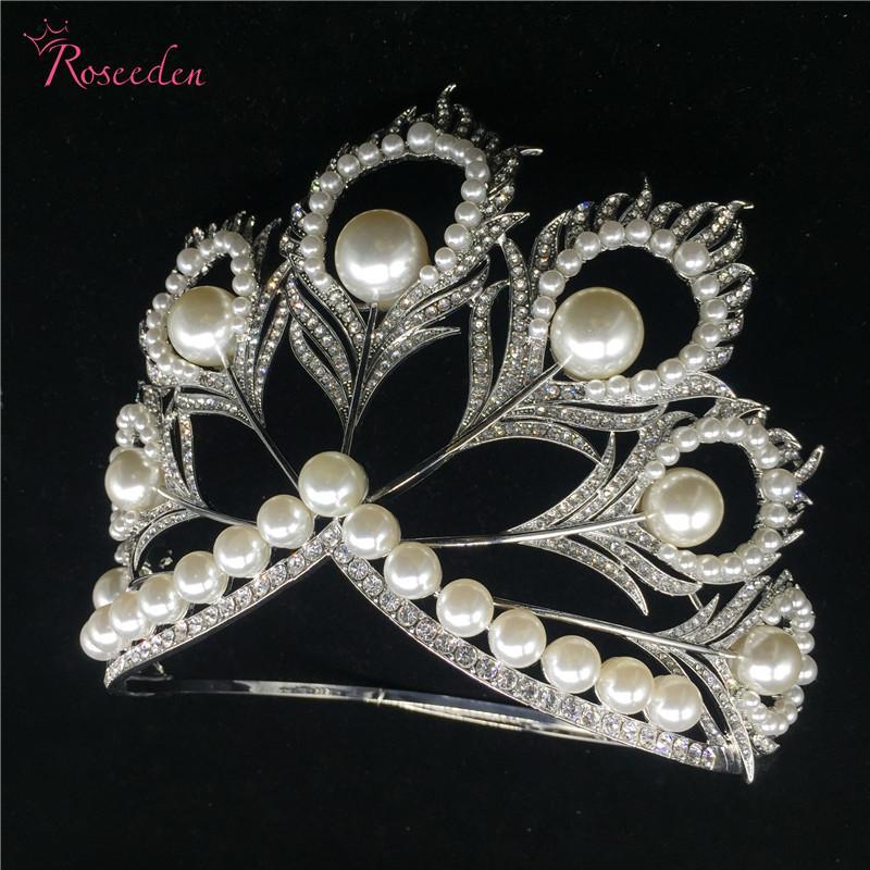 Hot tatsächliche Größe Miss Universe Pageant Crown Strass Perlen feder Kreis rund groß Kronen Tiaras RE484C Y200727