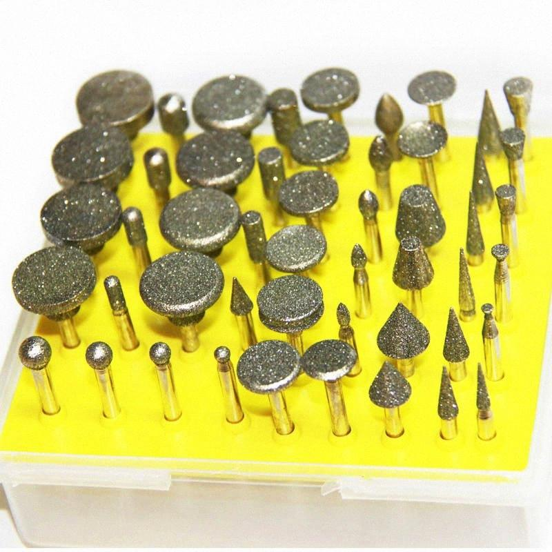 50pcs Diamond Grinding Bur Set 3.2mm Shank Mini Drill Bits for Dremel Rotary Tool Accessories Set qurO#