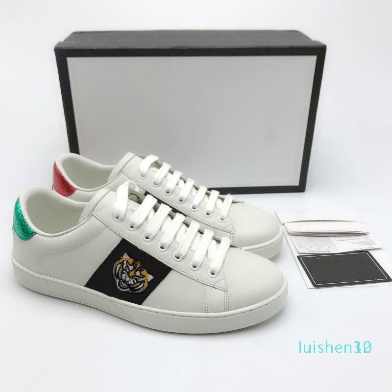 Ace Shoes Designer Shoes morango couro Casual Sneakers bordados abelha, flores tigres fruta do dragão Mulheres Sneakers Tamanho US5-US13 l12