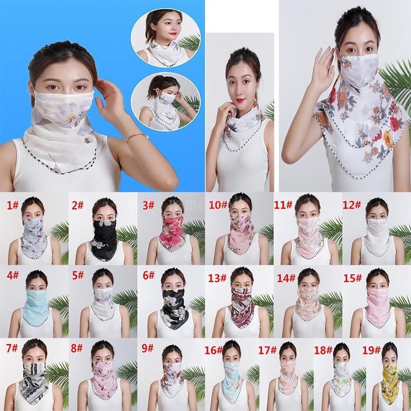 Femmes Écharpe Masque Masque Mouchoir à la mousseline à vent double face à la poussière anti-poussière Masques masque de poussière Masques de fête DHA167