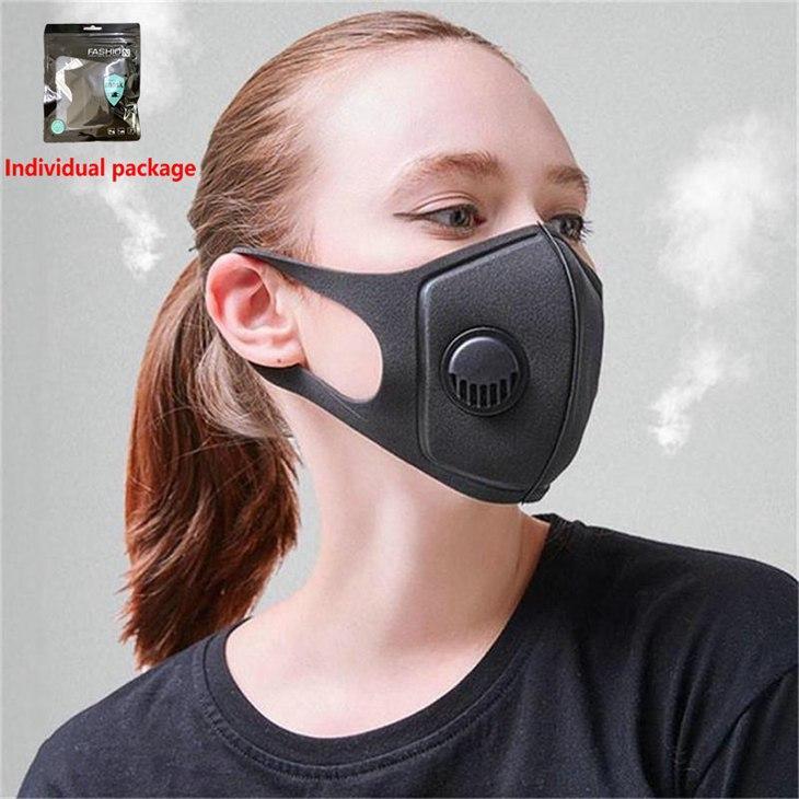 Masques respiratoires réutilisables Valve unisexe Anti-allergique PM2,5 bouche Masque anti-poussière Anti Pollution éponge Masque Tissu Masque 200pcs