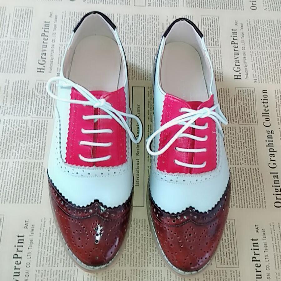Women Flats Oxford Shoes Woman Genuine Leather Sneakers Ladies S Vintage Lace Up Casual Shoes Oxfords Shoes for Women