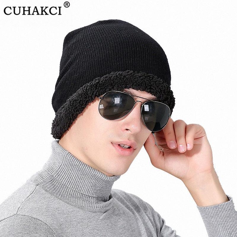 CUHAKCI Skullies Samt Beanies Hüte Winter für Männer Strickmütze Frauen Mann Gorras warme weiche Thick Balaclava Bonnet Ski Beanie Q7nw #