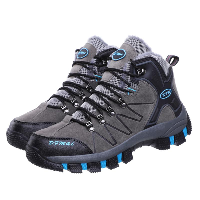 botas de los hombres al aire bajo la tapa del cordón para arriba los zapatos de trekking impermeables a prueba de agua zapatos cómodos de montañismo de invierno suave