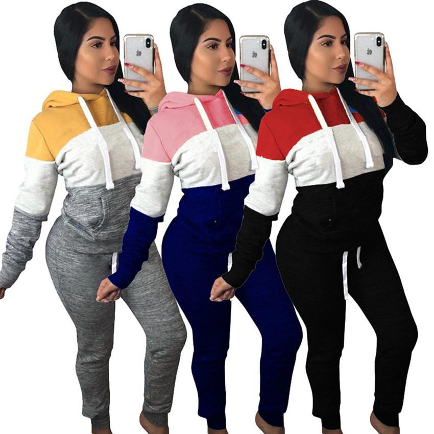 Kadınlar pantsuit kıyafetler kapşonlu spor 2 parçalı set kazak gömlek legging takım elbise sonbahar sıcak satış klw0079 düşmek eşofman