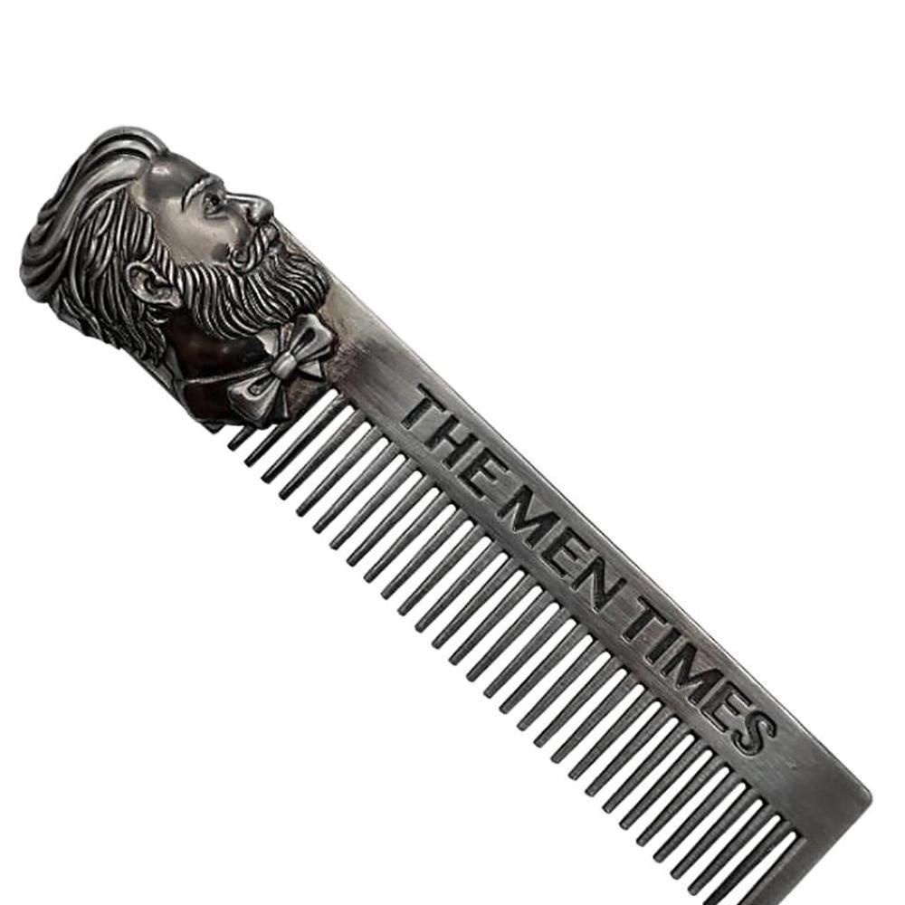 LOGO Amazon clássico Hot Metal Barba Pente liga de zinco Retro Homens Bigode Pente Anti Estática Penteado para Trás Cabelo Cabeça Combs personalizado