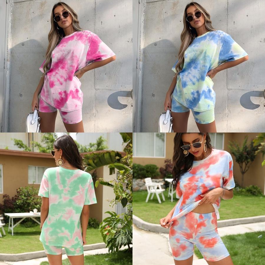 PHOTOS REAL 2020 femmes'S Dener Mode à manches courtes imprimé Survêtements Deux 1pcs Set Bandage Sport Tight Costume Courir Fitness Clothi # 186