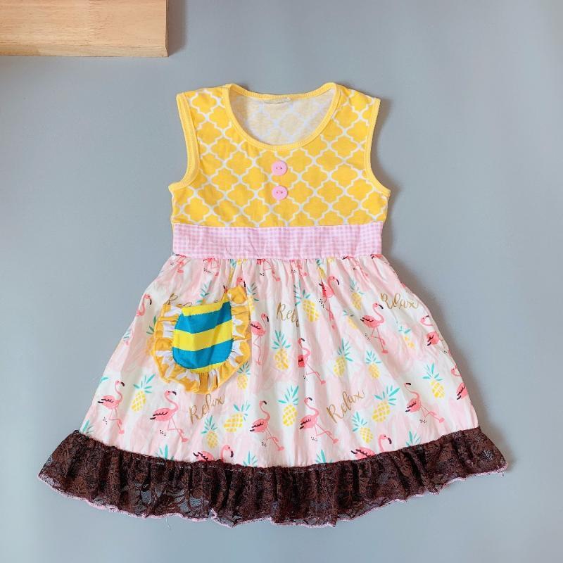 2020 Sommer-Gelb Flamingokleid Singlet Kleid Geschenk von Baby-Kleid-Zusatz