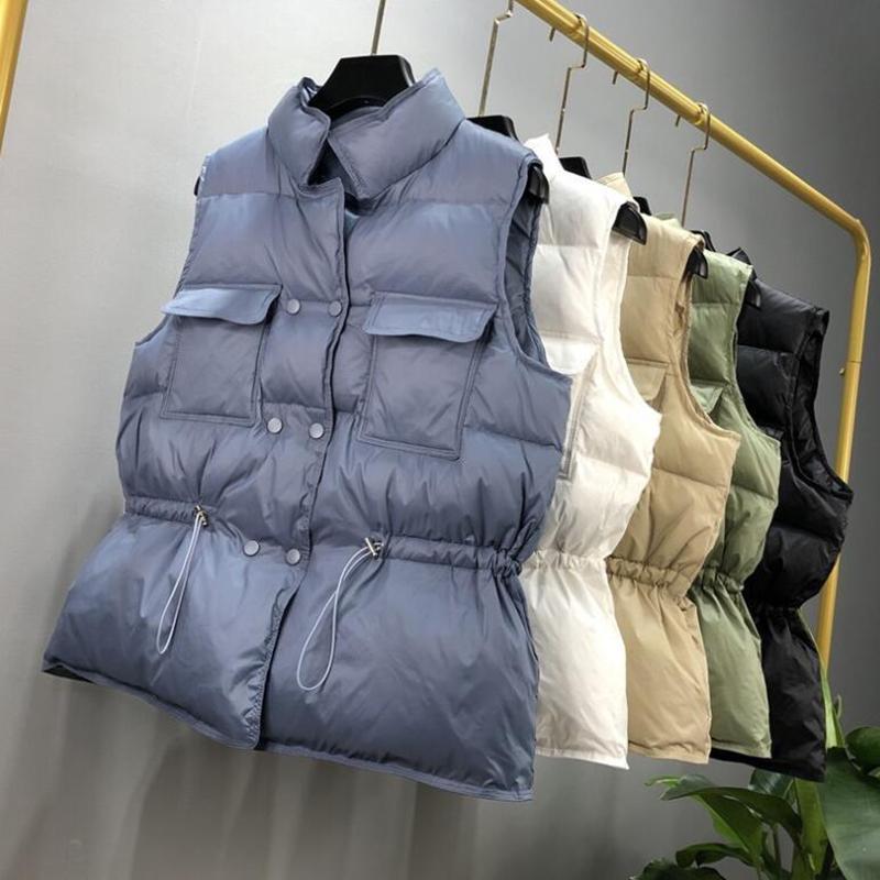 Sedutmo Kış Ördek Aşağı Kadın Yelek Tunik Kısa Ceketler Sonbahar Yelek Rahat Kirpi Ceket Ince Parkas ED1104