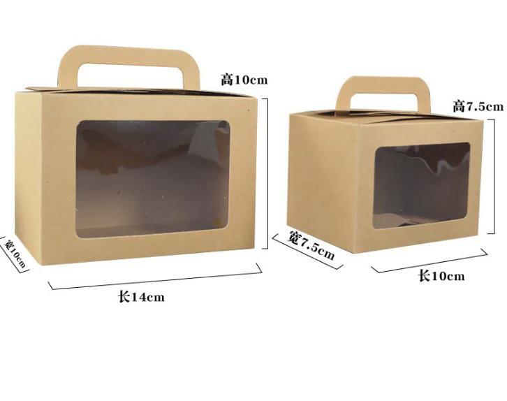 Portable Baking Box with Clear Window Kraft Paper Cake Packing Box Bakery Dessert Take-Out Folding Boxes Baking Box with Clear Window