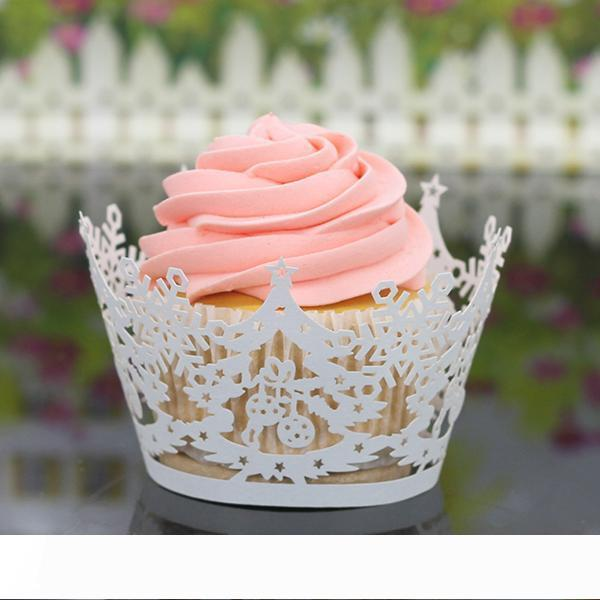 200PCS Laser Cut Cupcake Wrap Christmas Tree Snowflake Hollow out Paper Cake Wrappers Muffin Wrap Wedding Christmas Party Decorations New